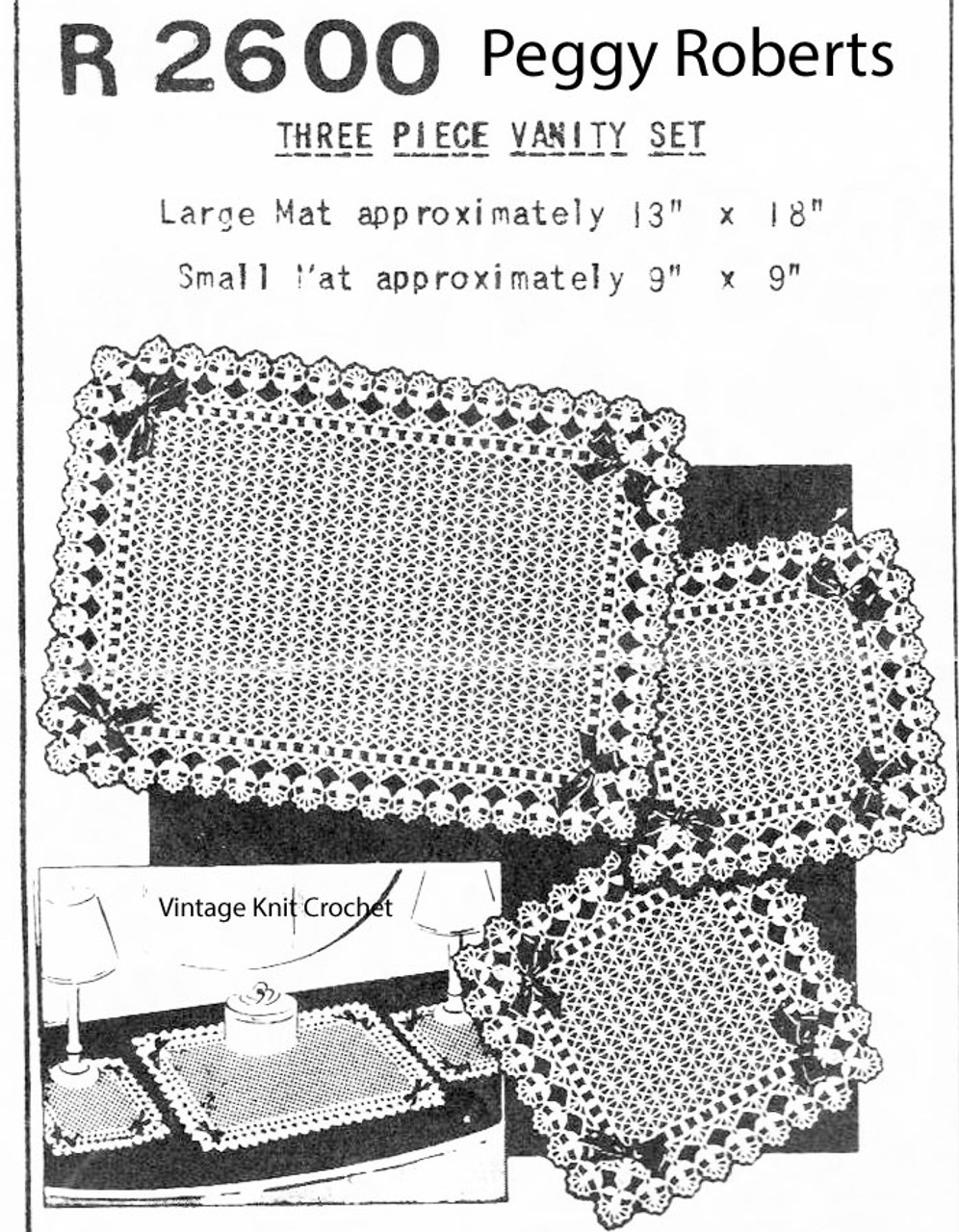 Crocheted Mats Pattern, be-ribboned mesh, Mail Order R-2600