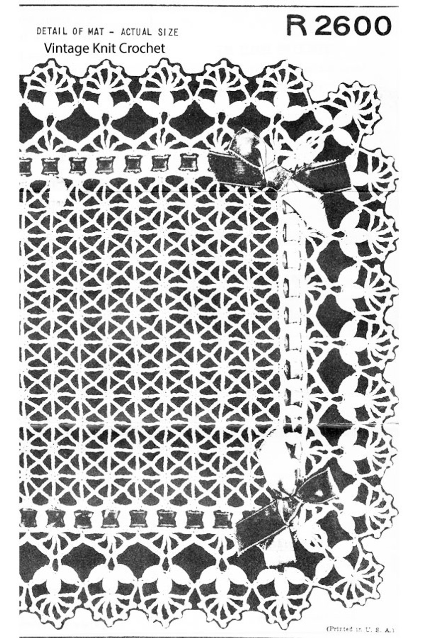 Crocheted Mesh Mat Pattern, Shell Border, Peggy Roberts R-2600