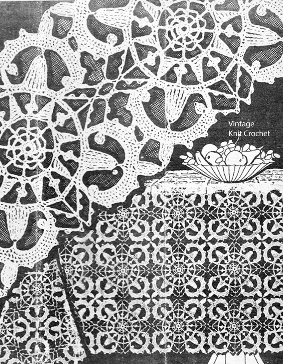 Crocheted Lace Tablecloth Pattern, Laura Wheeler 1385