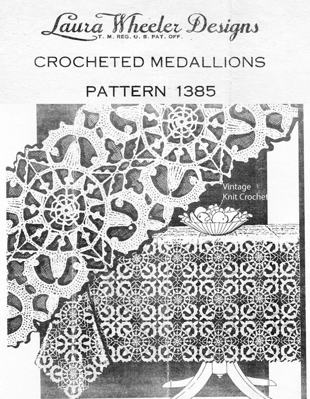 Crochet Medallion Tablecloth Pattern, Mail Order Design 1385
