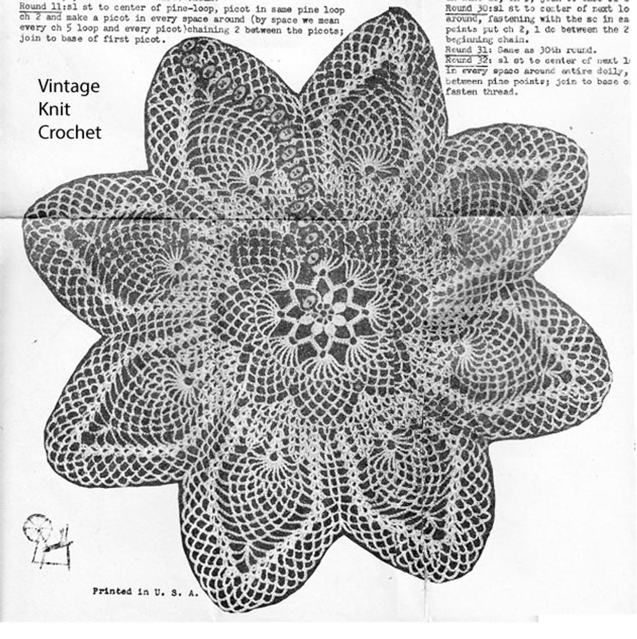 Flower crochet Pineapple Doily Pattern, Mail Order 1208