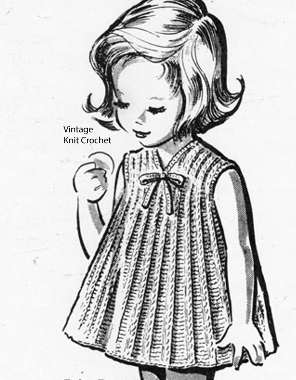 Girls Knitted A-Line Dress Pattern, Anne Cabot 2621