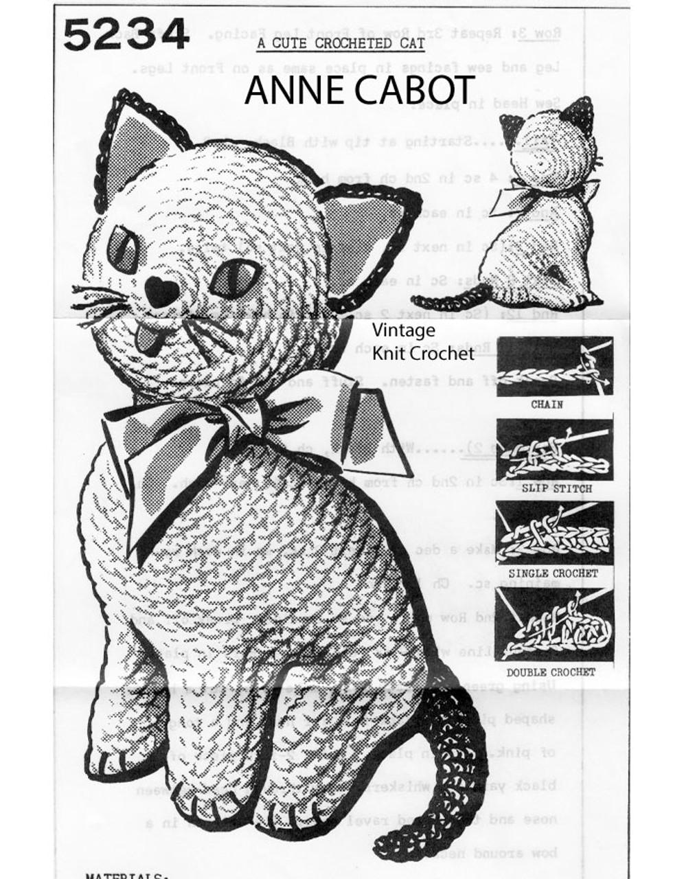 Crochet Cat stuffed toy pattern, Anne Cabot 5234