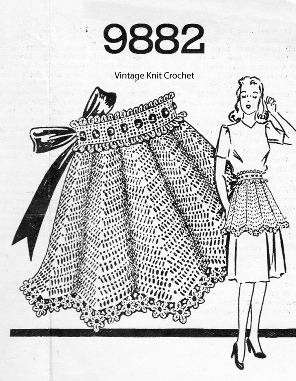 Vintage Crochet Half Apron Pattern No 9882