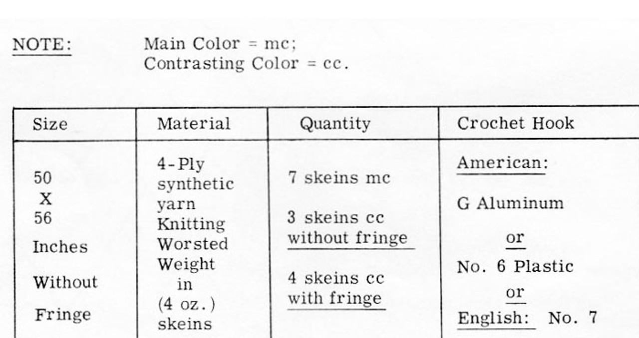 Crochet Pineapple Diamond Afghan, Mail Order 7160