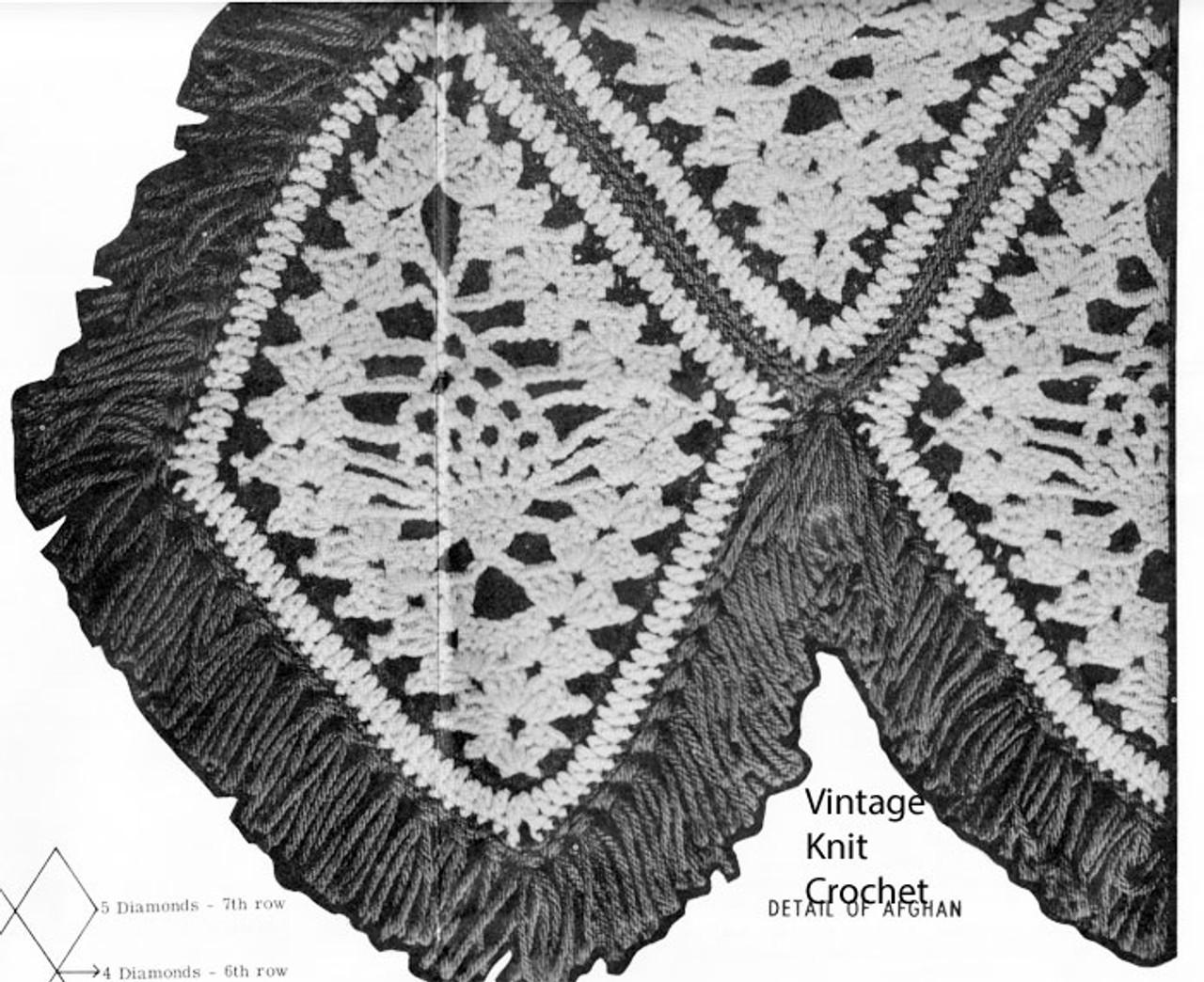 Crochet Diamond throw, with pineapples, pattern Design 7160
