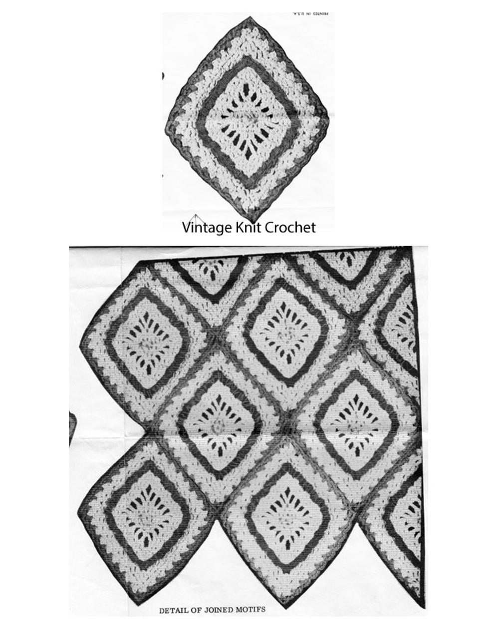 Diamond Medallion Afghan Crochet Illustration, Mail Order 7368