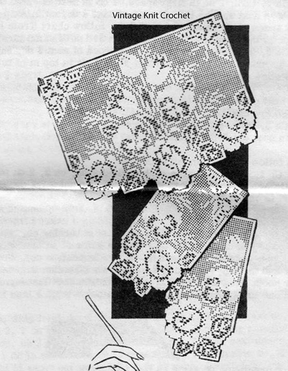 Filet Tulip Chair Doily Pattern, Alice Brooks 7169