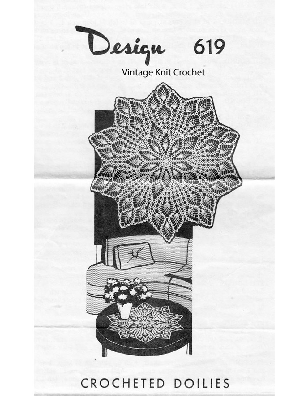 Crochet Pineapple Doilies Pattern, Small Large, Mail Order 619