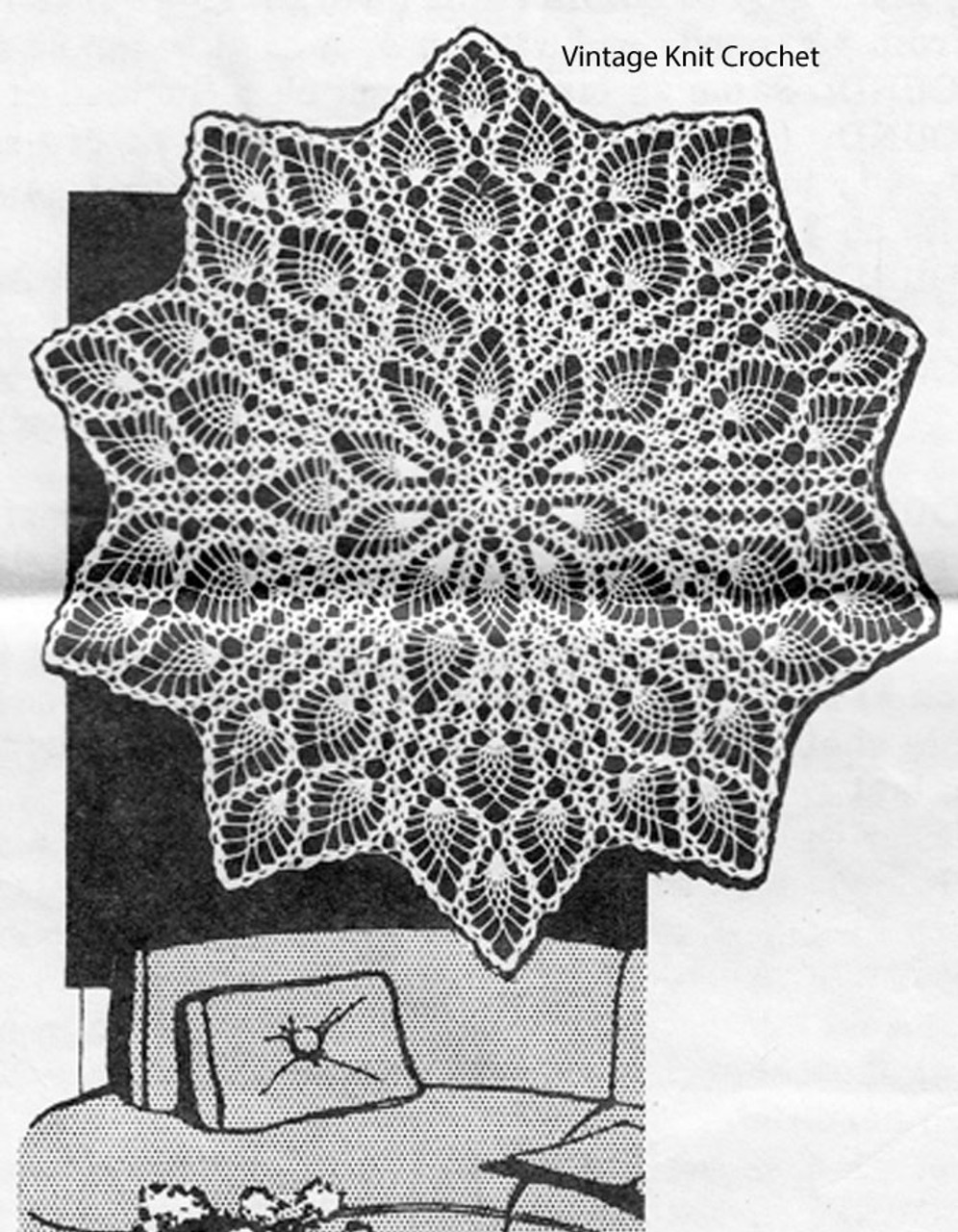 Crochet Pineapple Centerpiece Doily Pattern Design 619