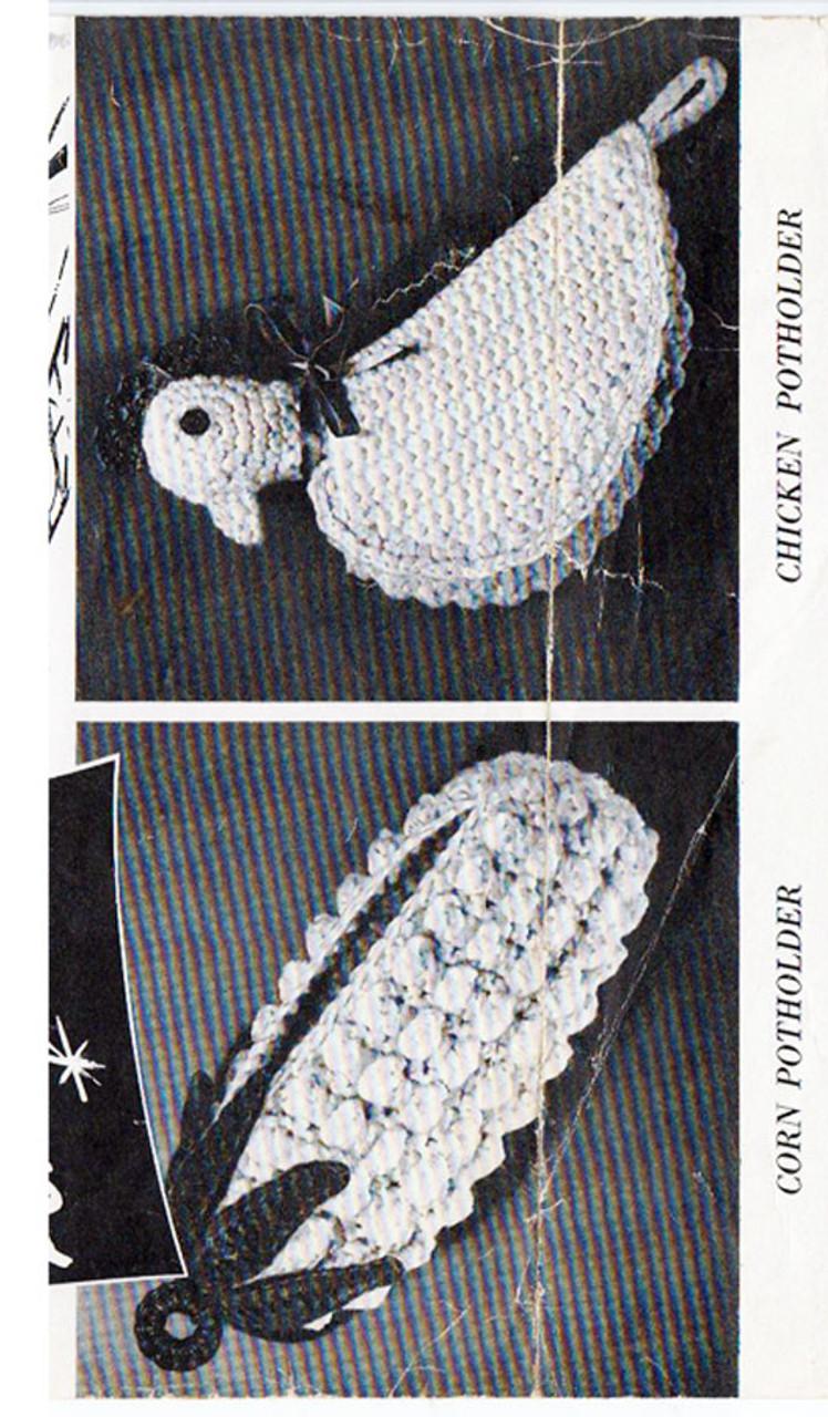 Ear of Corn Crocheted Potholder Pattern, Chicken Pan Holder