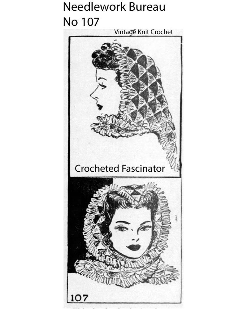 Free Lace Crochet Fascinator Scarf Pattern, Mail Order 107