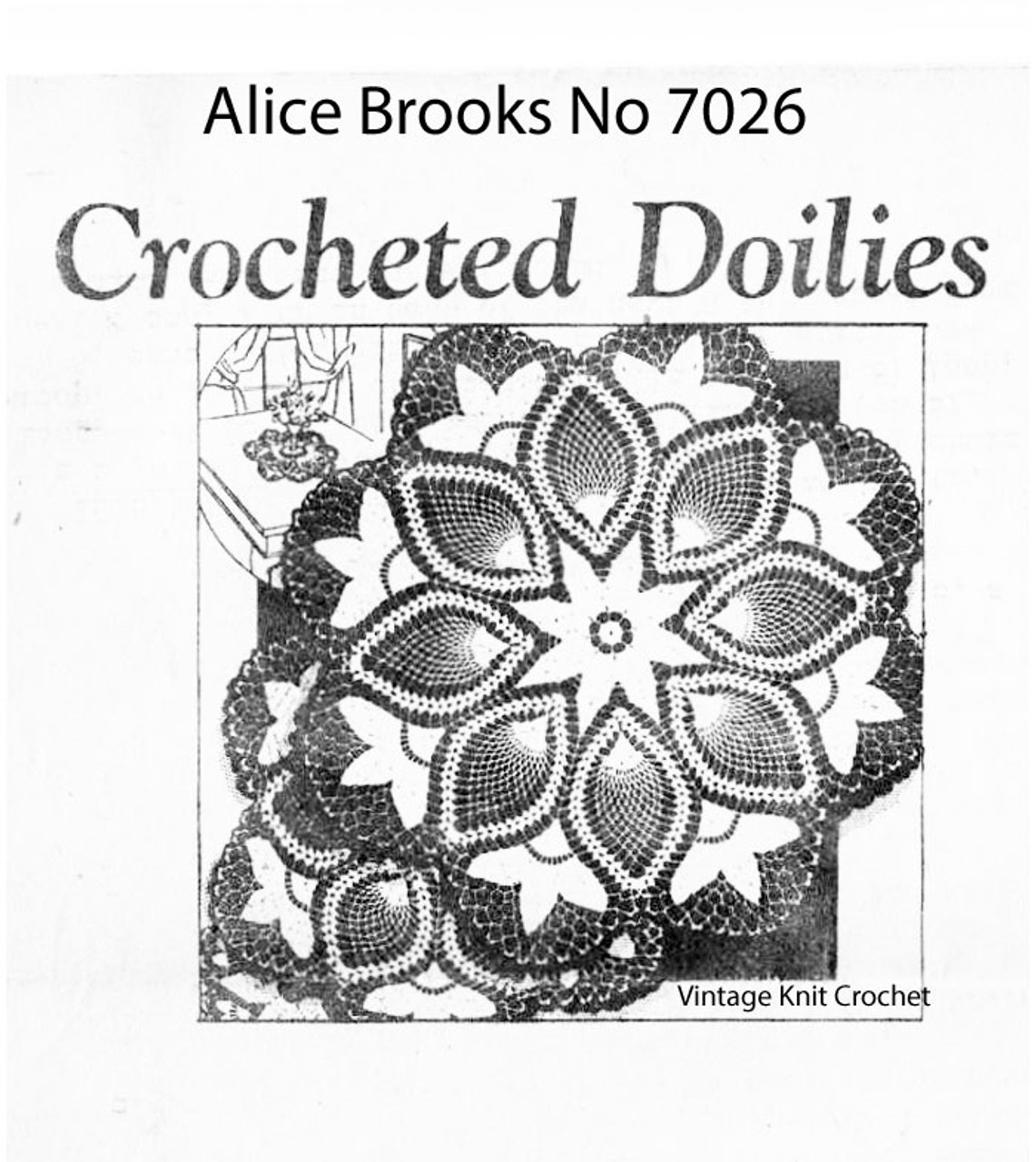 Crochet Pineapple Doily Pattern, Tulips, Mail Order 7026