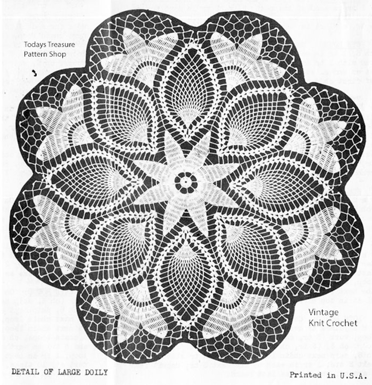 Vintage Crochet Tulip Doily Pattern, Alice Brooks 7026
