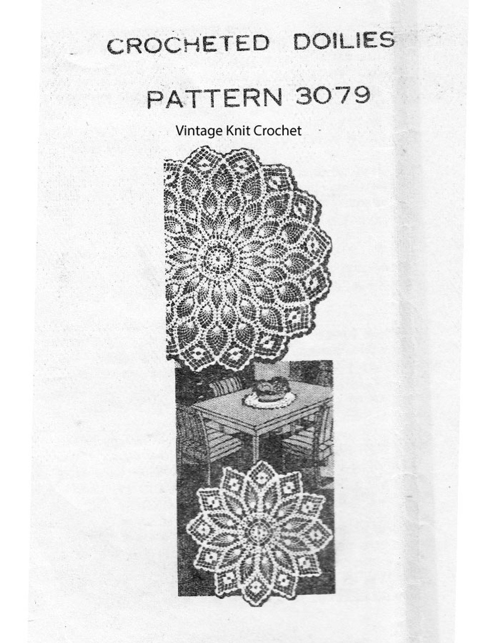 Large Pineapple Crochet Doily pattern American Weekly 3079
