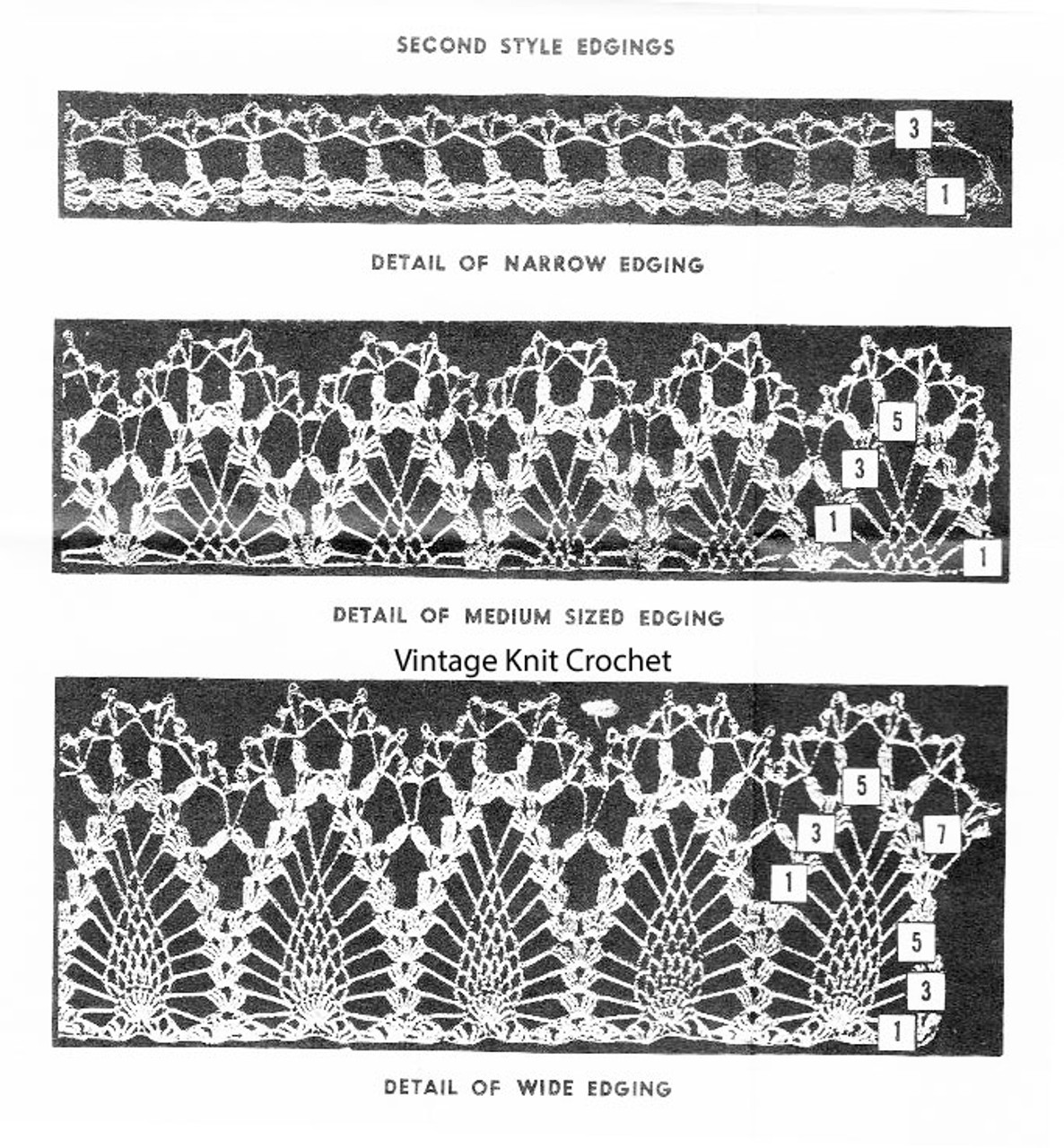 Narrow crochet edgings pattern, pineapple motif