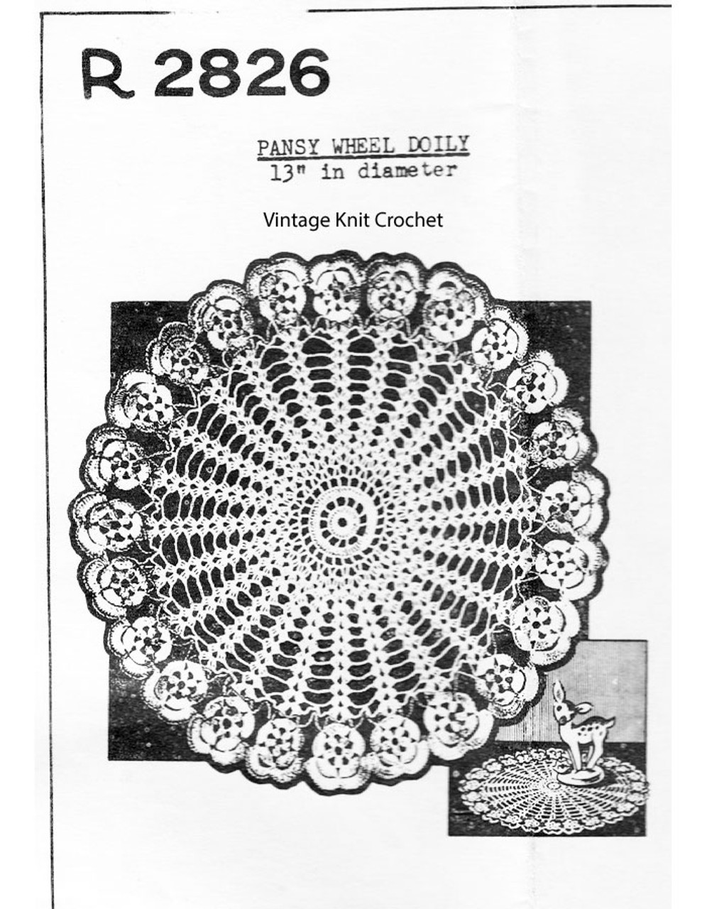Crochet Pansy Wheel Doily Pattern, Peggy Roberts 2826