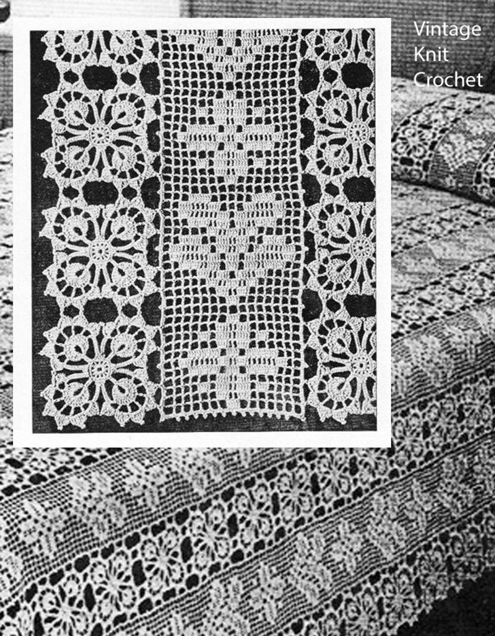 Filet Crochet Bedspread Pattern Design