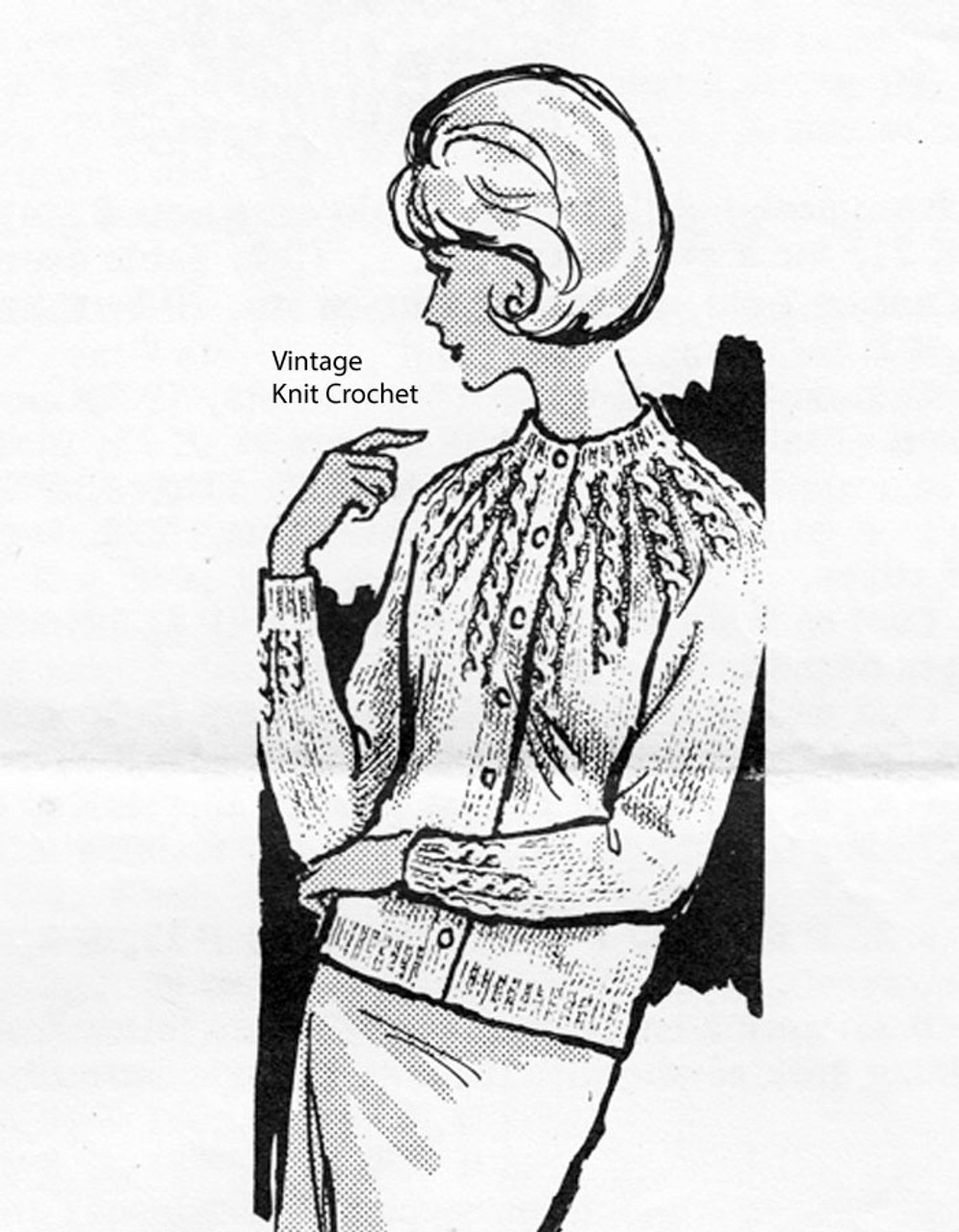 Knitted Cable Cardigan Pattern, Alice Brooks 7213