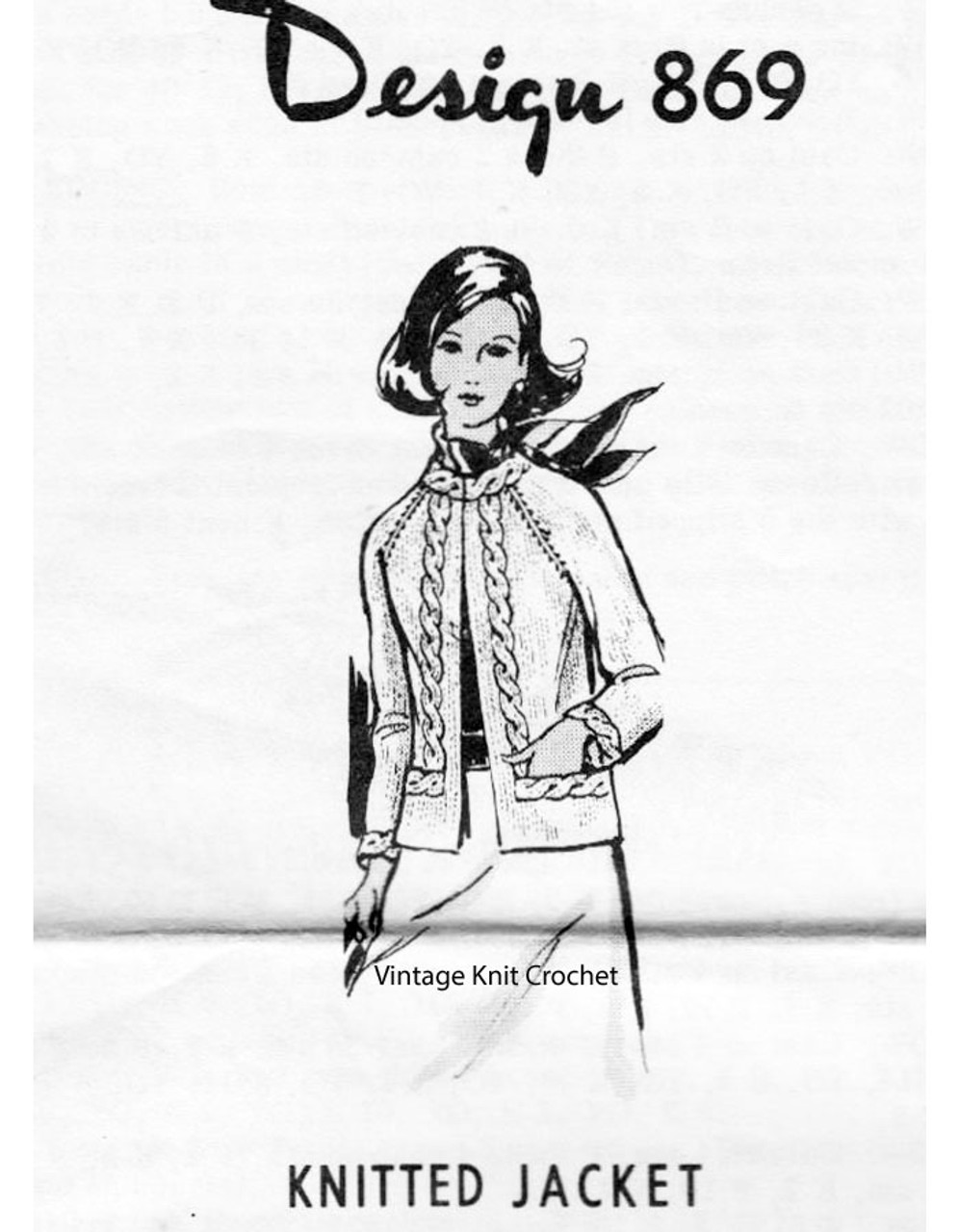 Womans Cable Jacket Knitting Pattern Design 869
