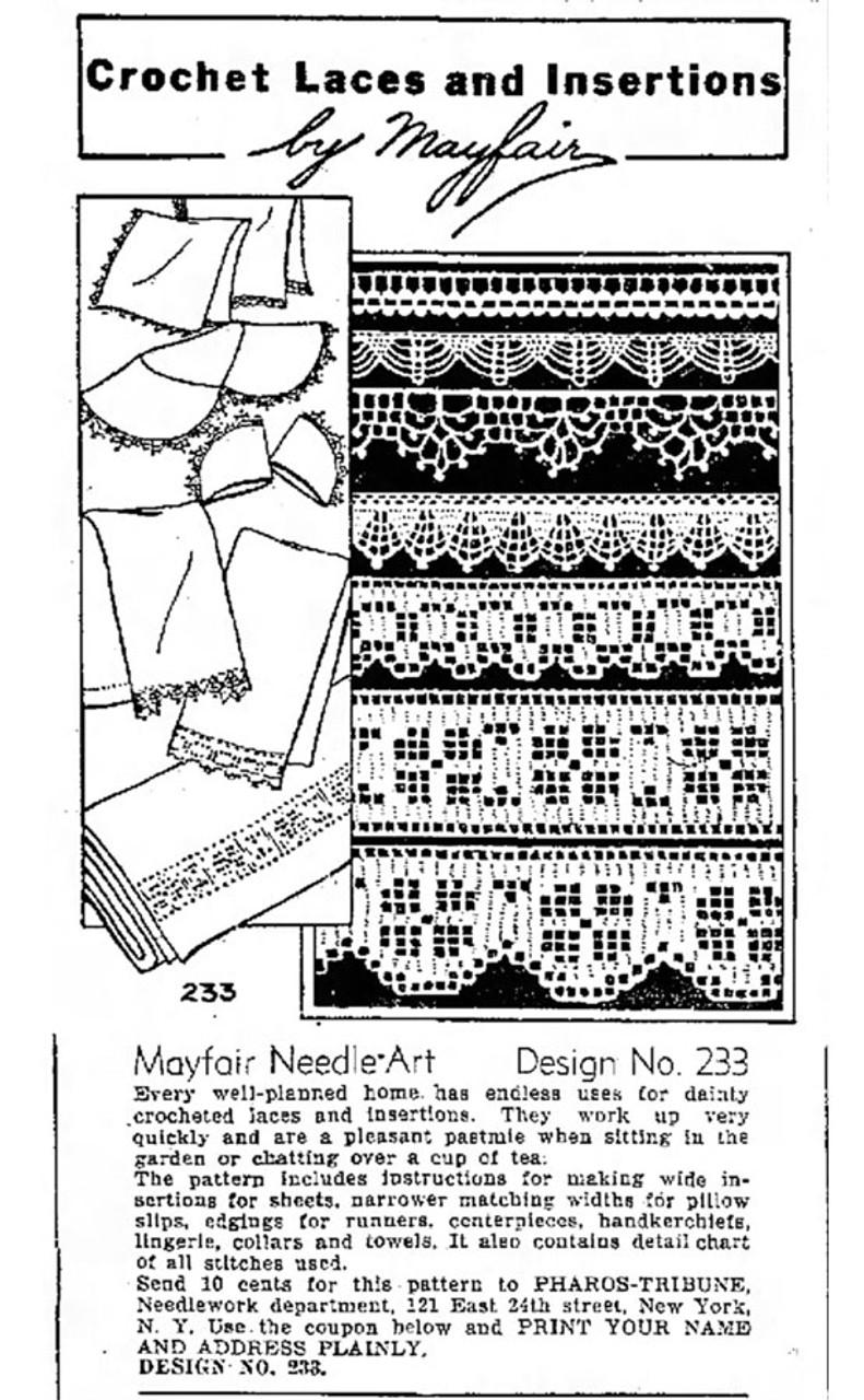 Mayfair Needle Arts No 233 Crochet Lace Pattern