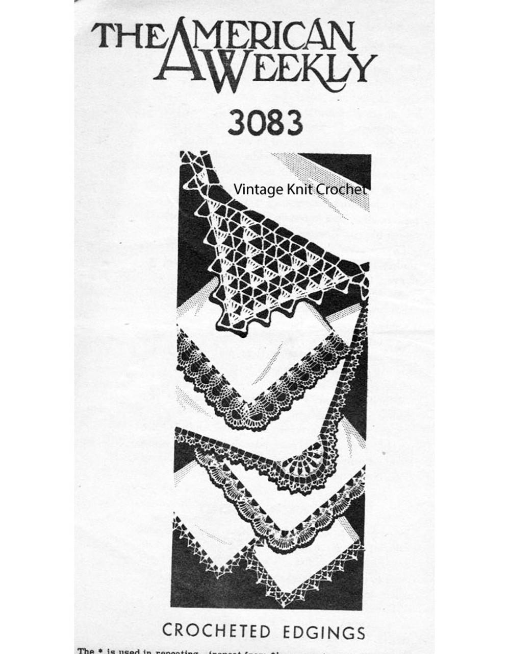 Six easy crochet edgings pattern, corner, American Weekly 3083