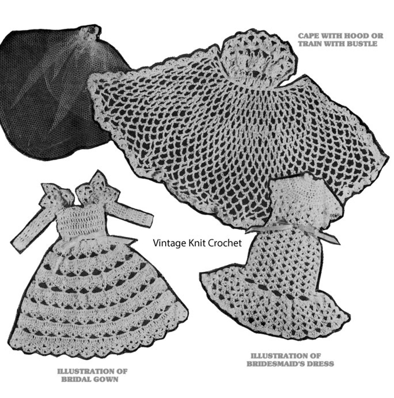 Crochet Bridal Dress Fashion Doll Pattern Illustration