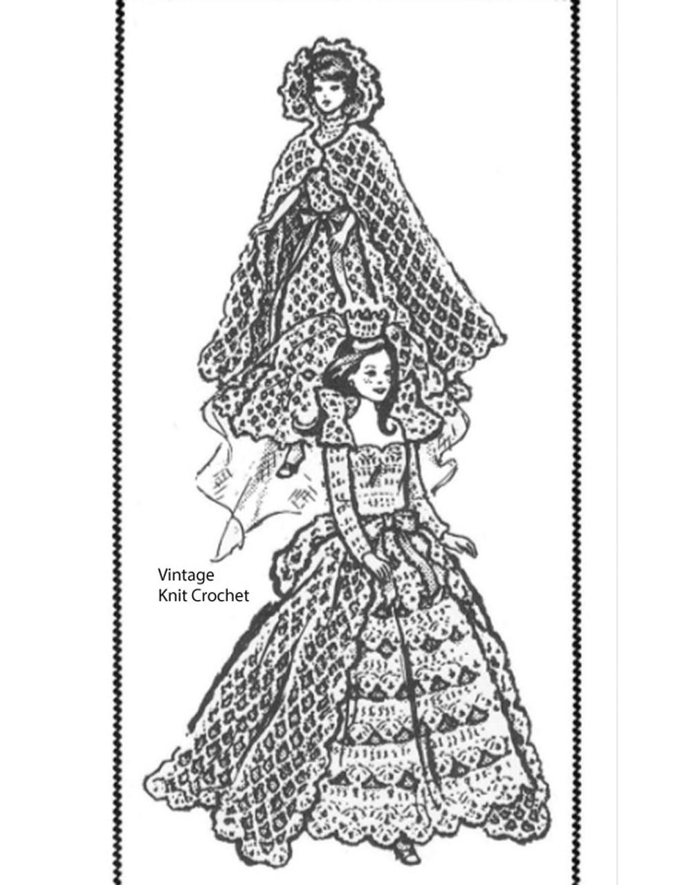 Barbie crochet bride dress pattern No 7414