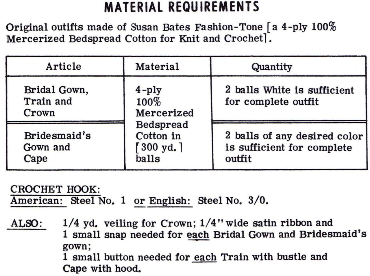 Crochet Bridal Doll Dress Pattern, Mail Order Design 7414