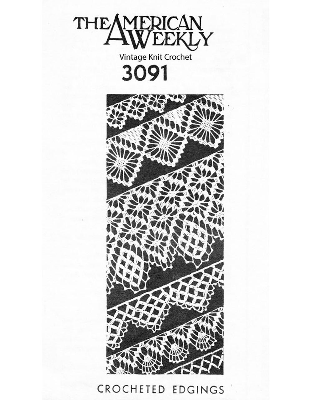 Wide crochet edging pattern, American Weekly 3091