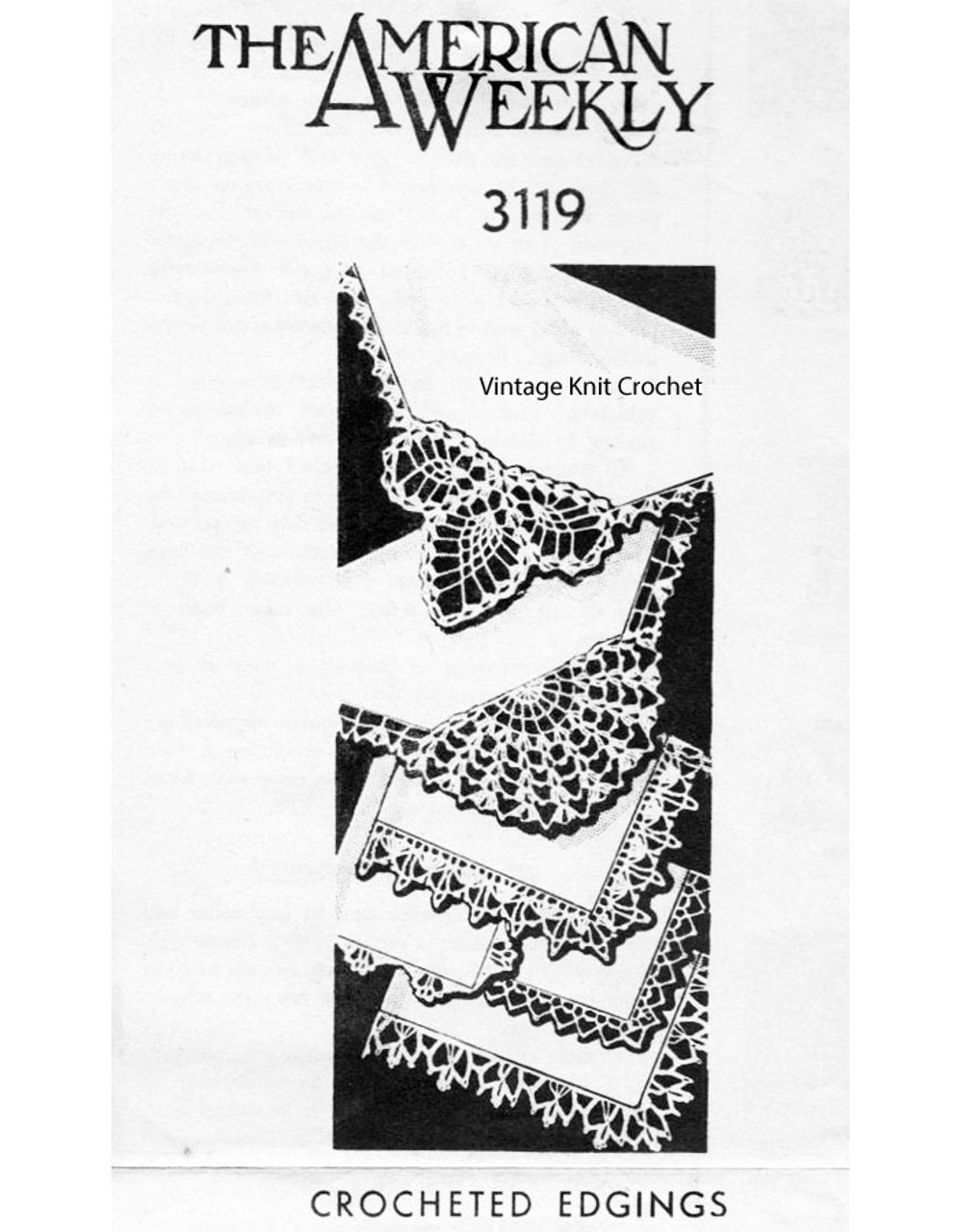 Crochet Linen Edging Pattern, American Weekly 3119