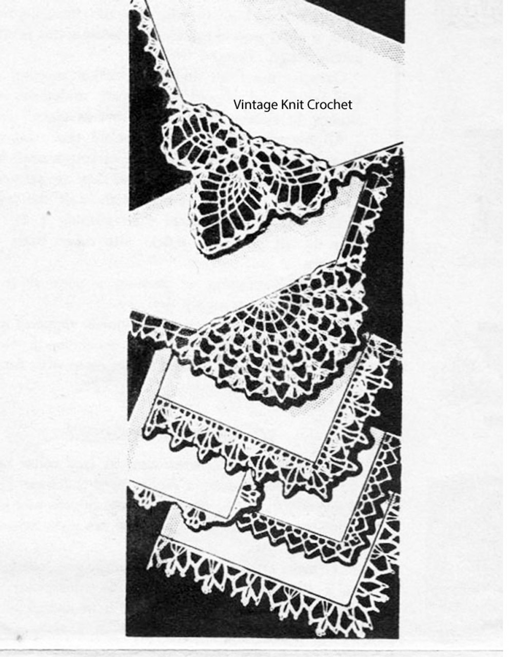Handkerchief Crochet Edging Pattern, American Weekly 3119