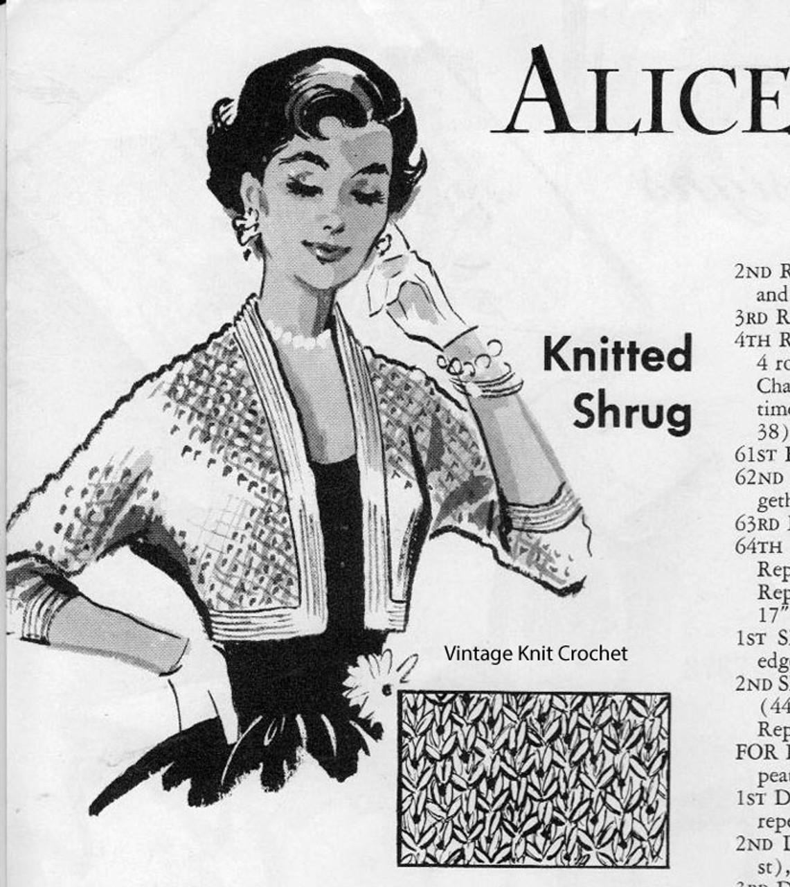 Free Knitted Shrug Pattern, Alice Brooks