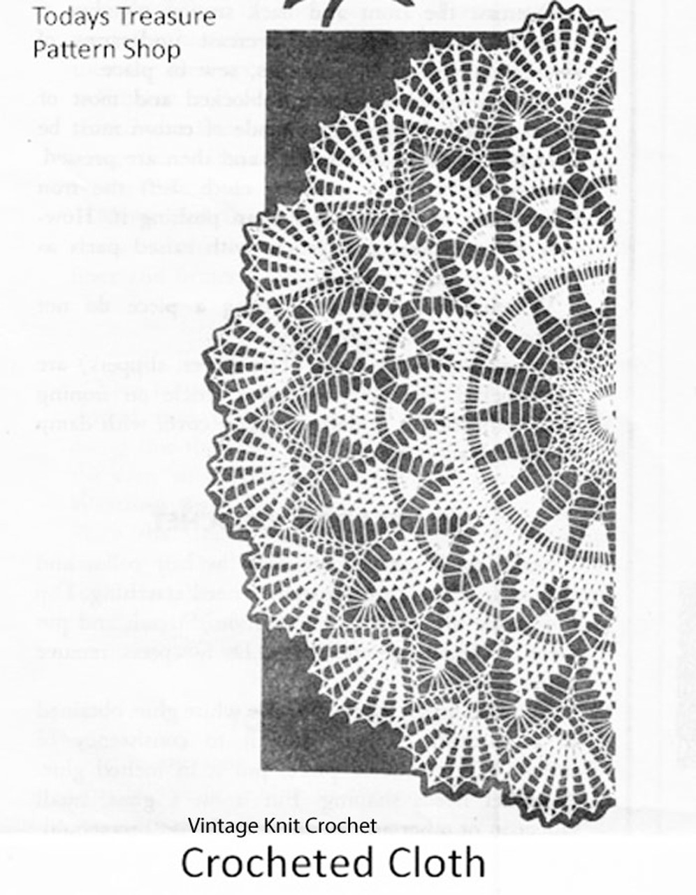 Round Crochet Tablecloth Pattern, Pineapple Shell, Mail Order 956