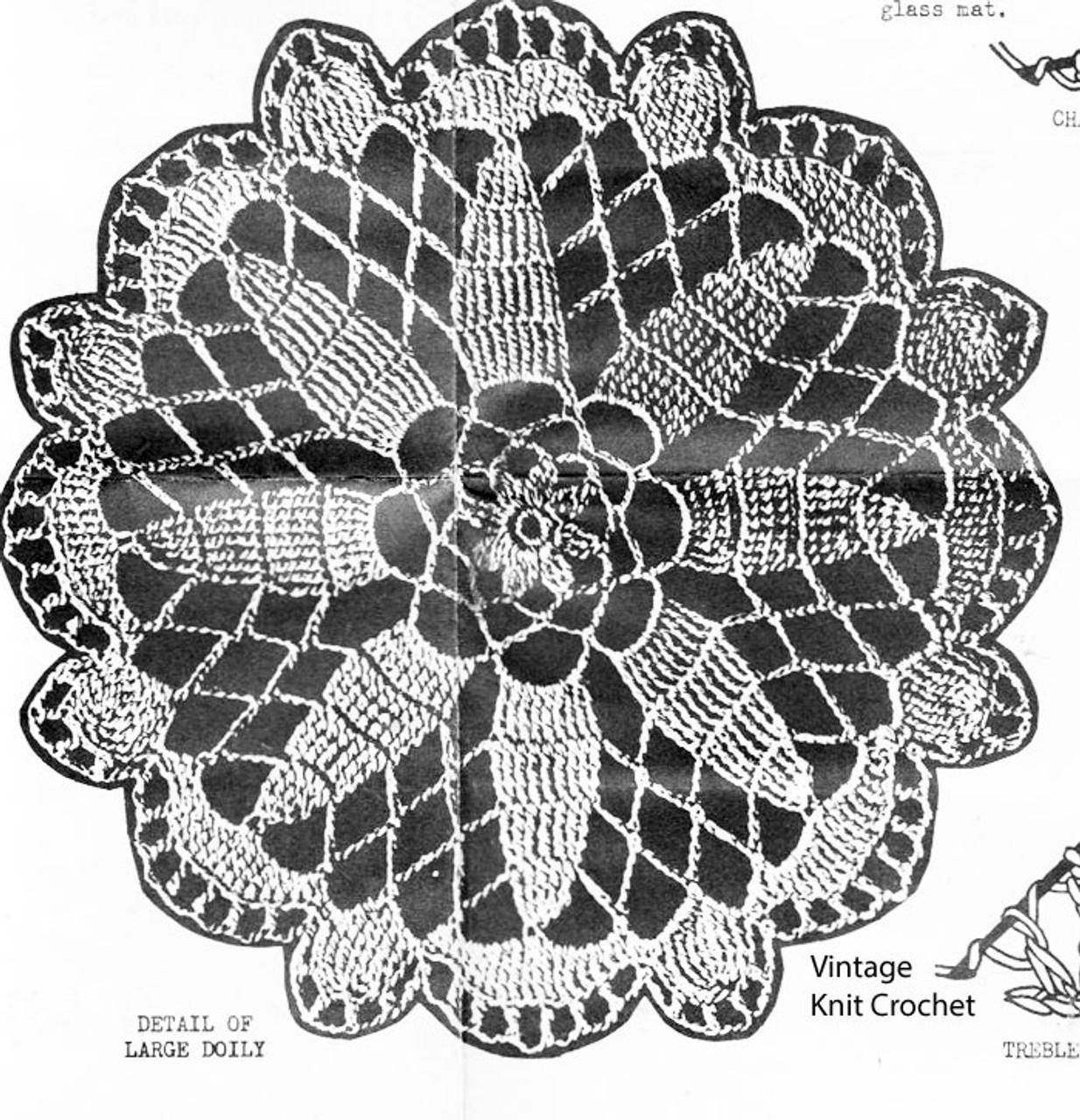 Large Flower Doily Crochet Illustration, Design 6008