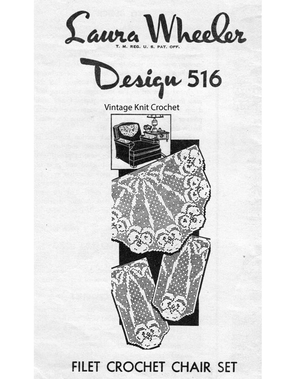 Pansy Filet Crochet Pattern, Chair Set, Design 516