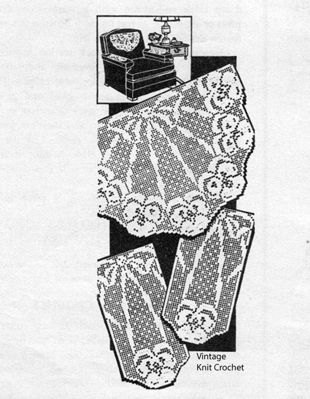 Filet Crochet Pansy Chair Doily Pattern, Laura Wheeler 516