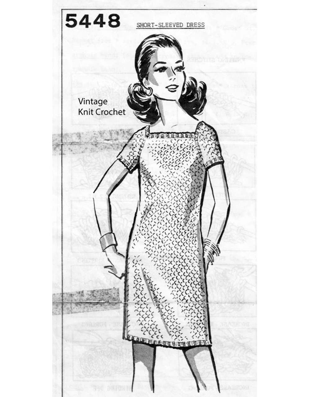 Knitted Straight Dress Pattern Anne Cabot 5448