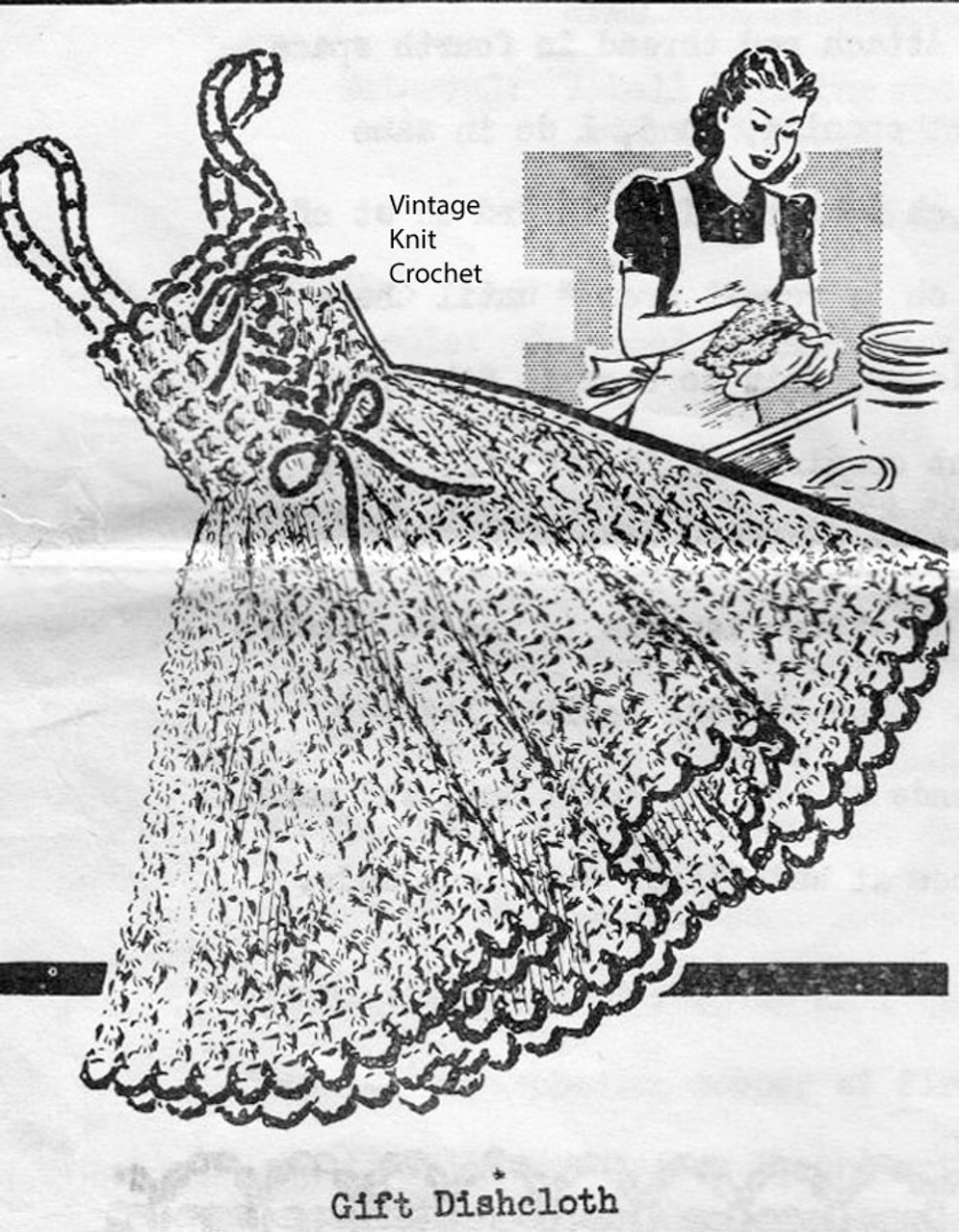 Vintage Crochet Dishcloth Pattern, Frilly Dress, Anne Cabot 5809
