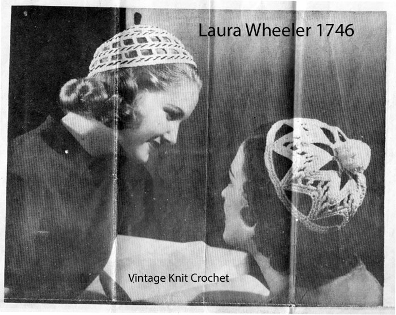 Vintage Beanie Caps Crochet Pattern, Mail Order 1746