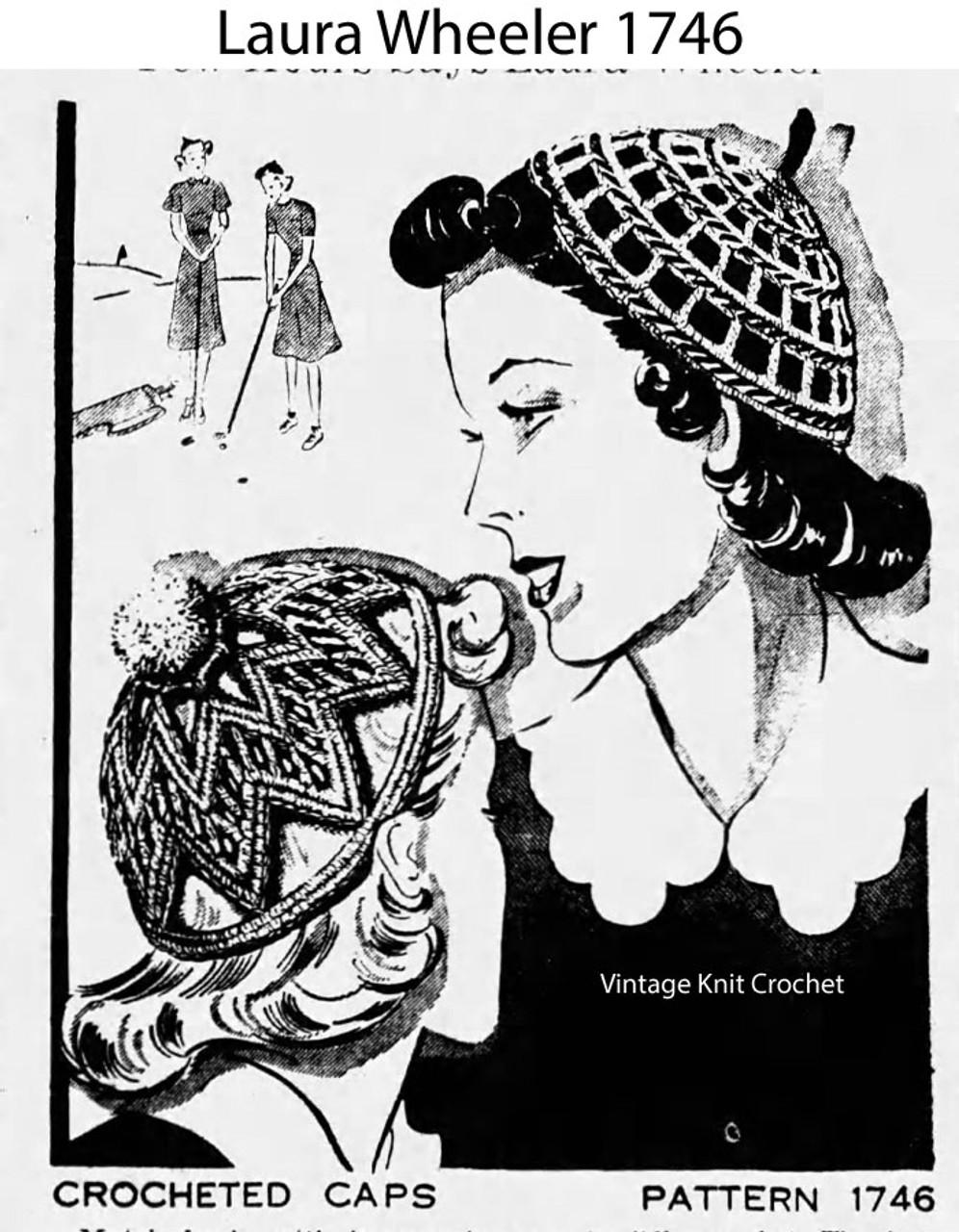 Vintage Crochet Beanie Caps Pattern, Laura Wheeler 1746