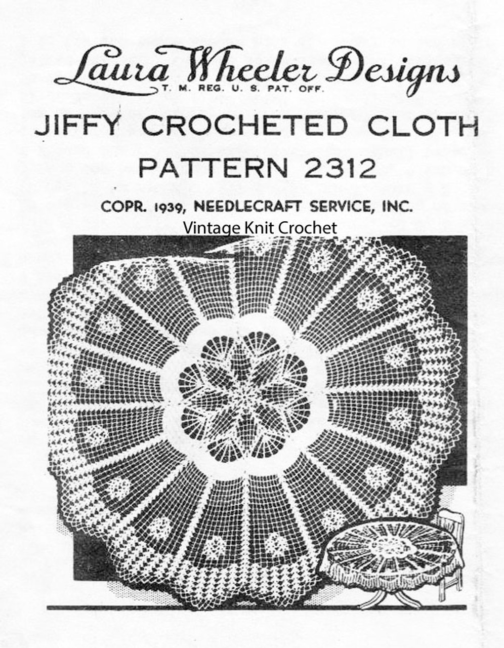 Round crochet tablecloth pattern Design 2312