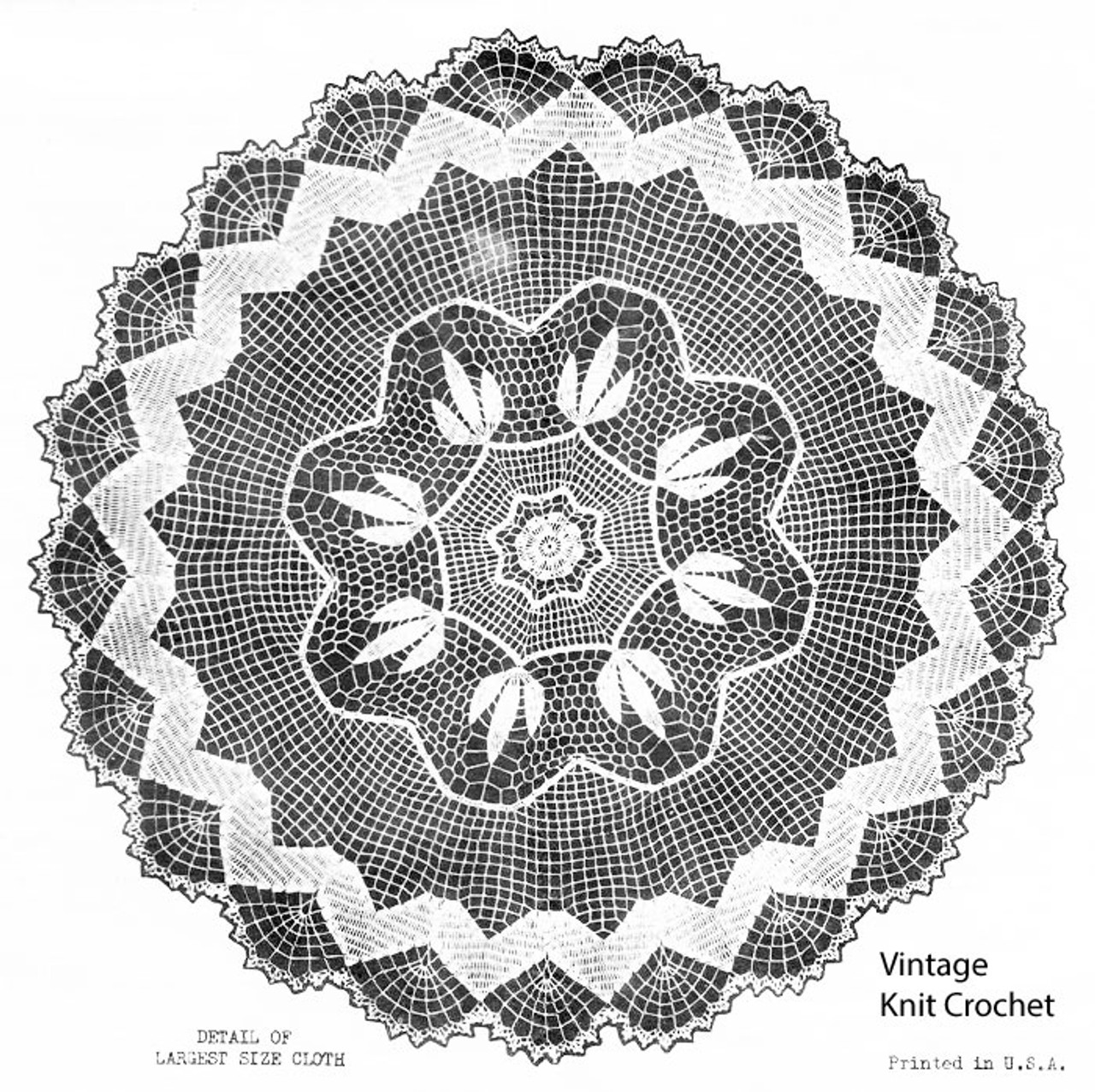 Crocheted Round Tablecloth Pattern, Mail Order 2040