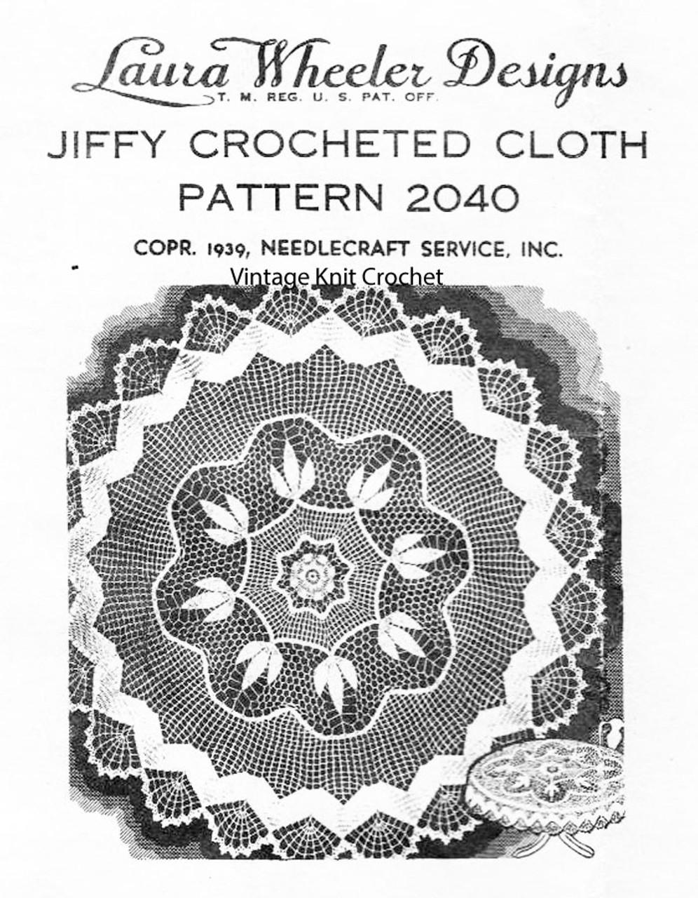 Vintage Round Crochet Tablecloth Pattern, Laura Wheeler 2040