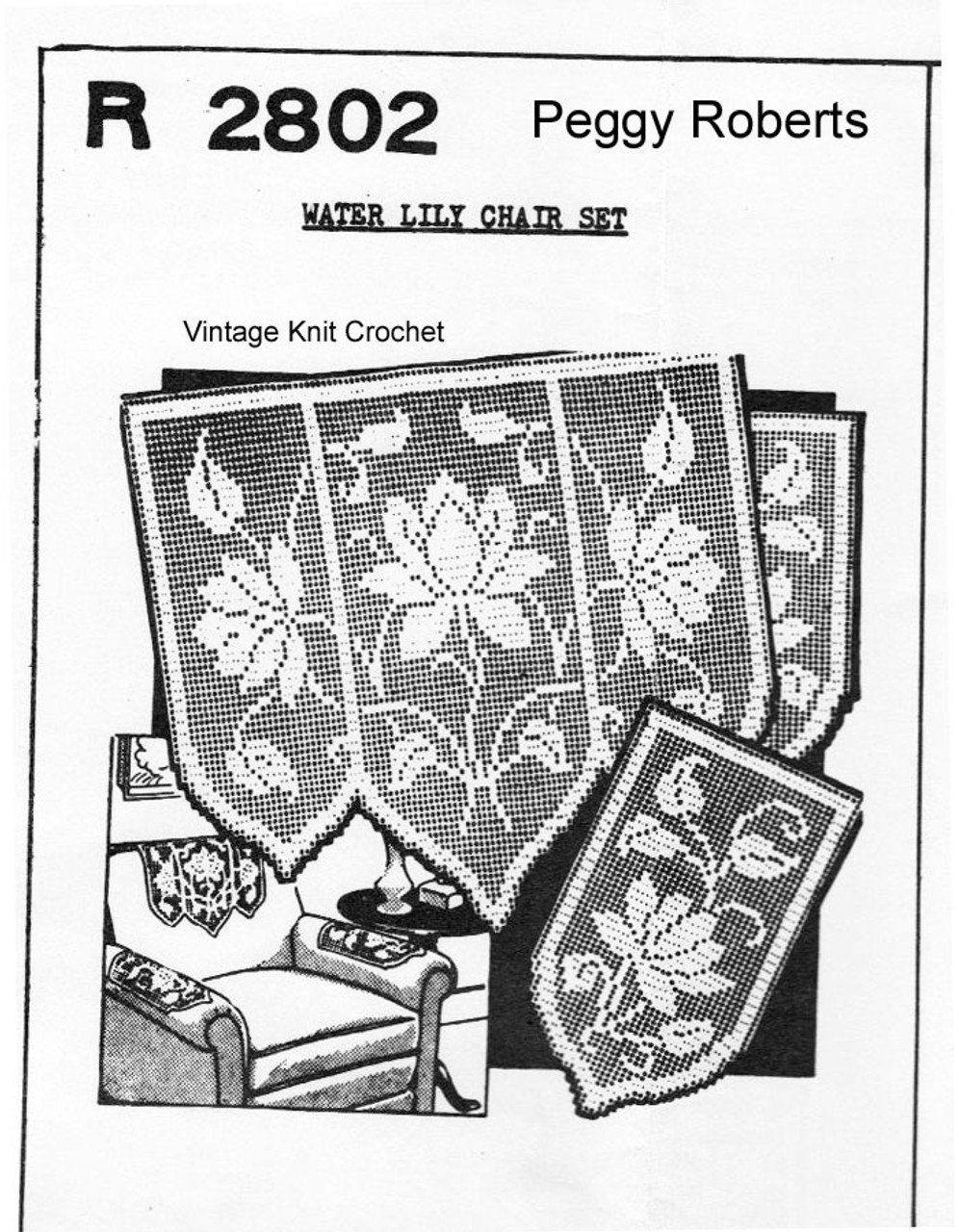 Filet Crochet Water Lily Chair Doily, Peggy Roberts 2802