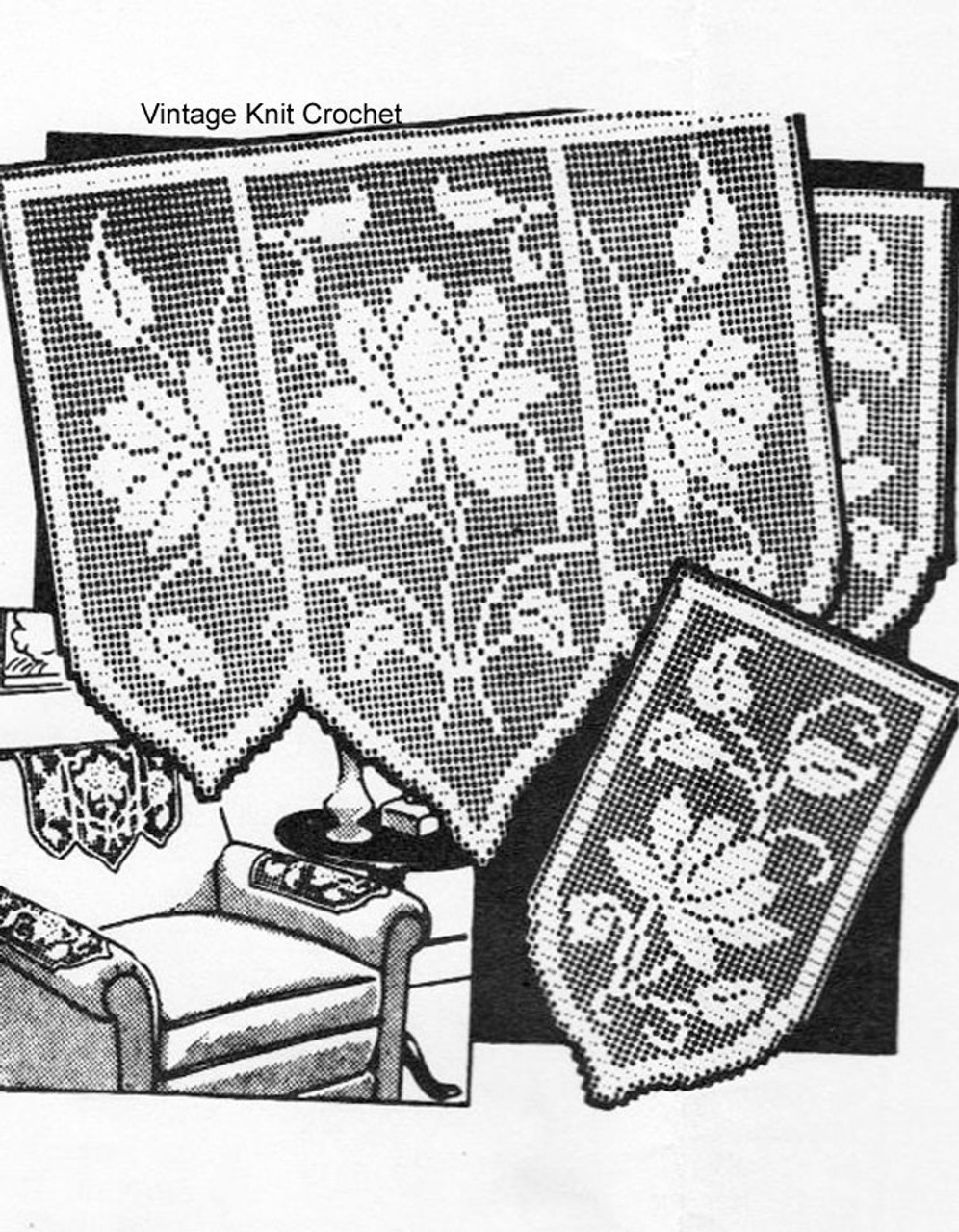 Vintage Filet Crochet Water Lily Pattern, Mail Order R-2802