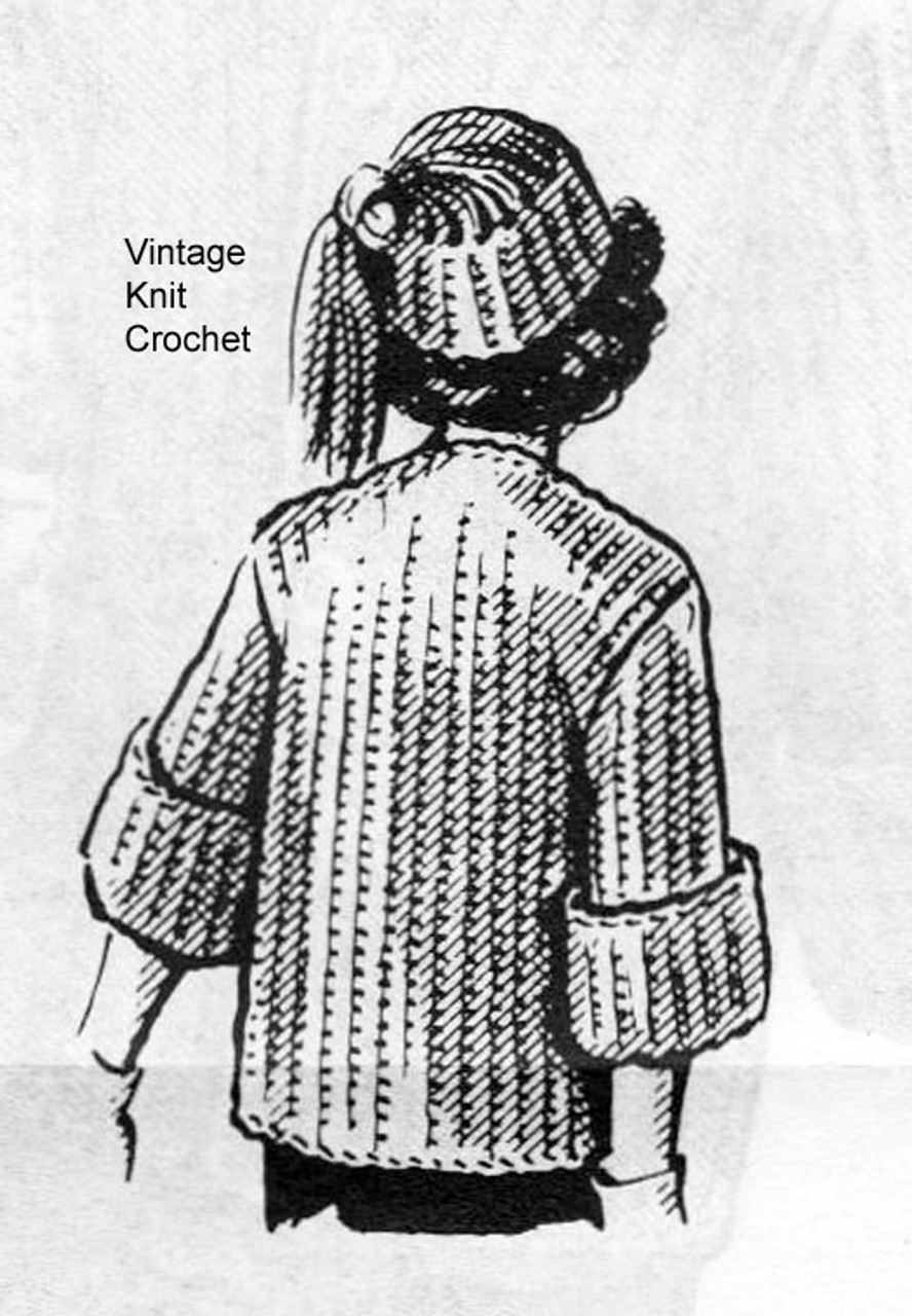 Bulky Crocheted Sweater Pattern with Cap No 2378