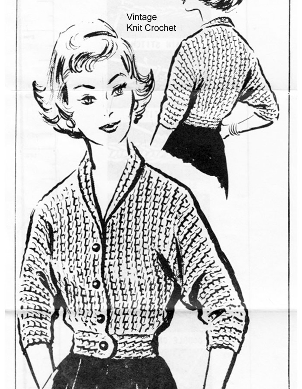 Vintage Filet Crochet Jacket Pattern Design 310
