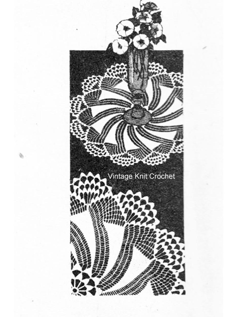 Small crochet pinwheel doilies pattern, shell border