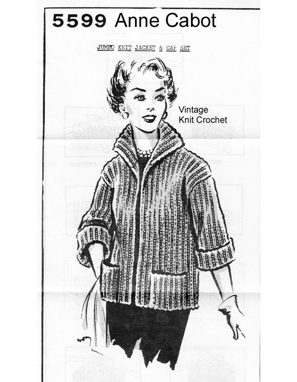 Beginners Knitted Jacket Pattern, Anne Cabot 5599